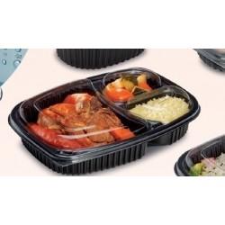 Tapa envase 1250ml 3 compartimentos paquete de 20 uds